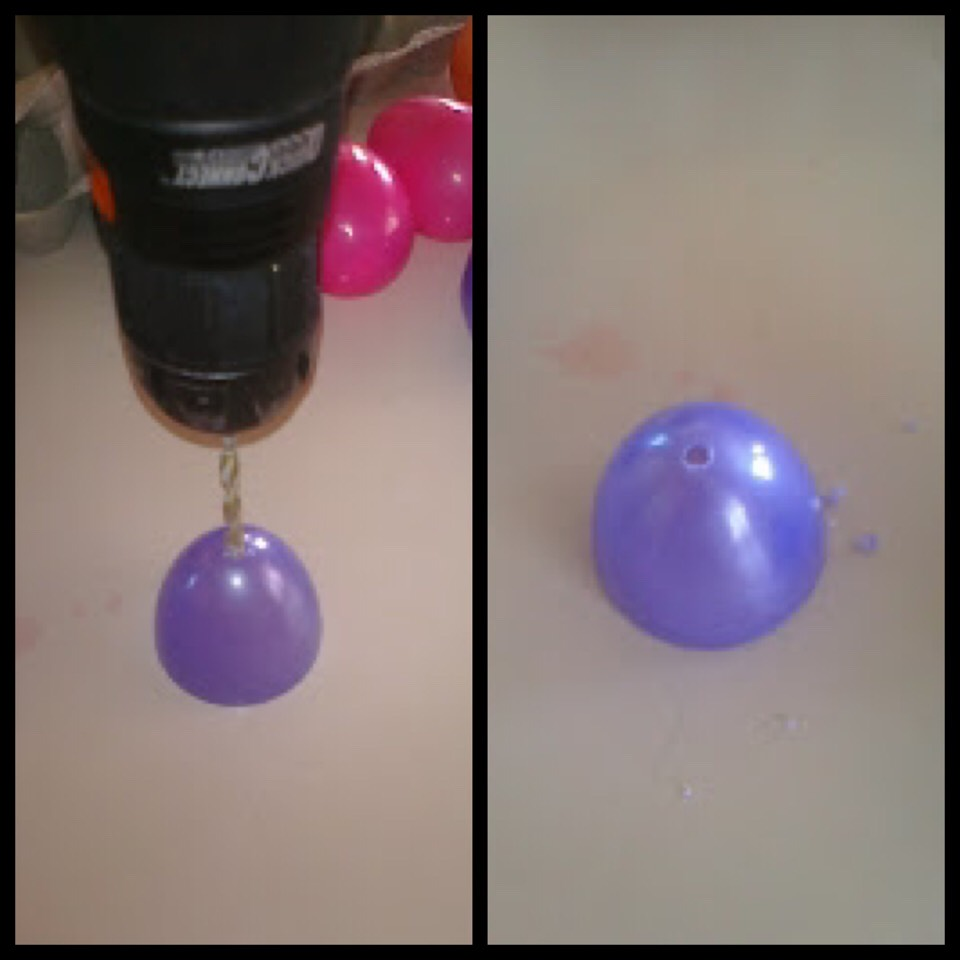 Step One:  Open up all of your plastic egg and drill a hole in the top half of each of the eggs...