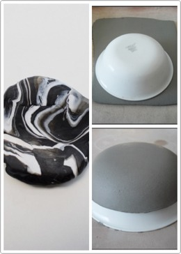 Make marble effect with clay then mold around the bowl to get a neater prettier unique look make the sides almost wavy and uneven
