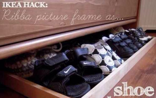 Use a Ribba picture frame as a slide-out shoe tray underneath a dresser! 👞👠