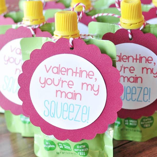 Main Squeeze: Here is another idea for a candy-less card. These cards can be attached to fruit squeezes, juice boxes, or even squeezable yogurt!