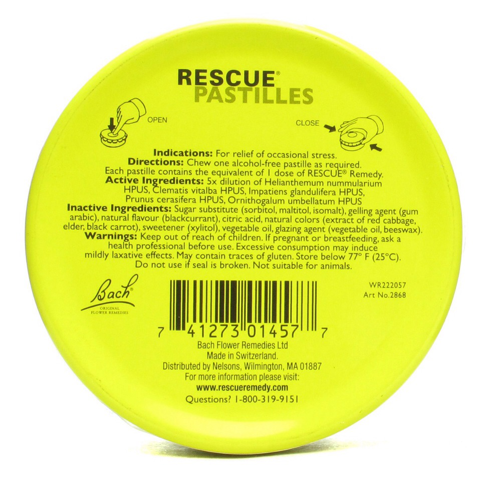Rescue Patilles contain 1 dose of Rescue Remedy and a host of herbs that aid in natural stress relief. After chewing I honestly find myself to be more at ease and able to focus quickly. This might also partly be a result of the chewing motion, which is naturally calming as well...