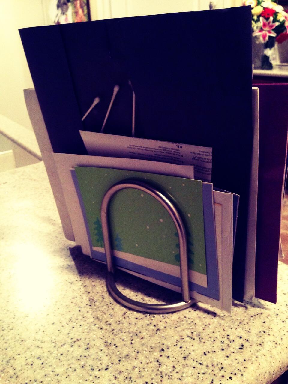 Mail, folders, school work, cards, etc.