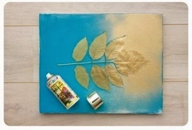 Once dry, place leafs on canvas and spray paint all over the canvas (leafs included)
