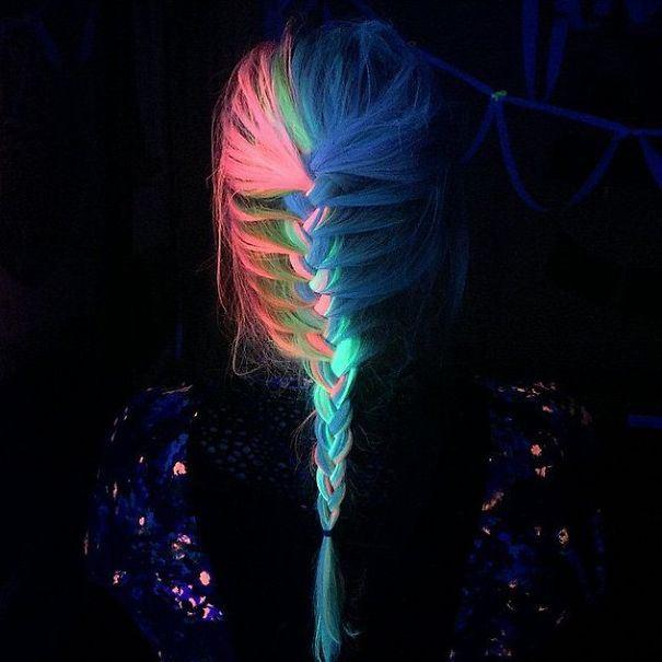 Glow in the dark rainbow hair is the new hair trend for 2016 and it looks gorgeous! Dye your hair like this and it'll look lovely normally, then amazing under black light!
