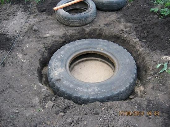 Place each tire in the corresponding hole and make sure it sits level.
