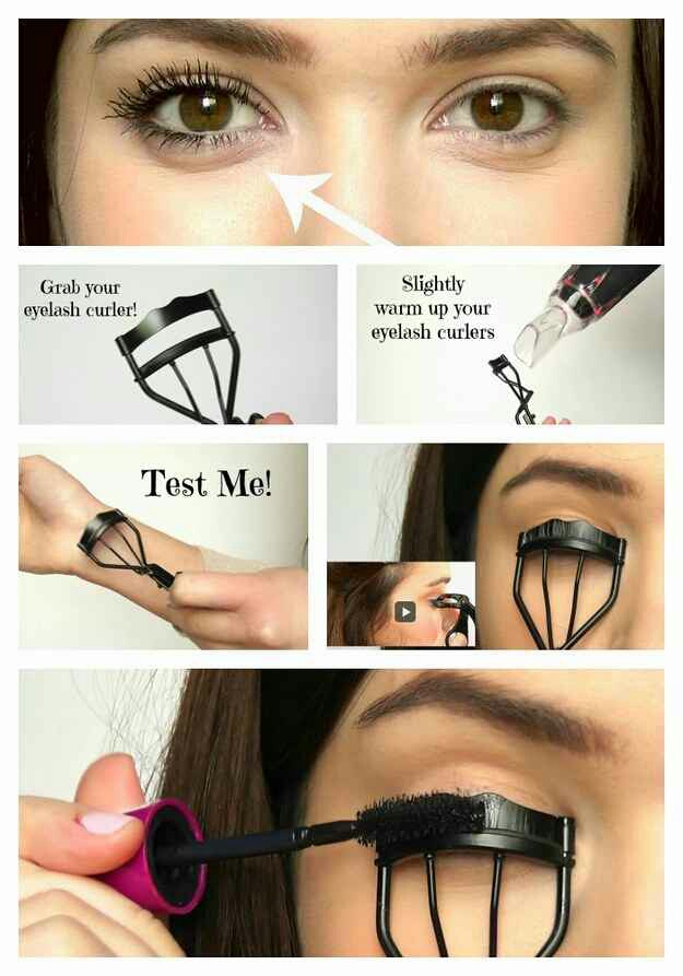 19. Or, you could go the daily route with mascara. Here's how to make your lashes look extra long and thick. Heating up your eyelash curler with your blow dryer is like using a curling wand on your hair.