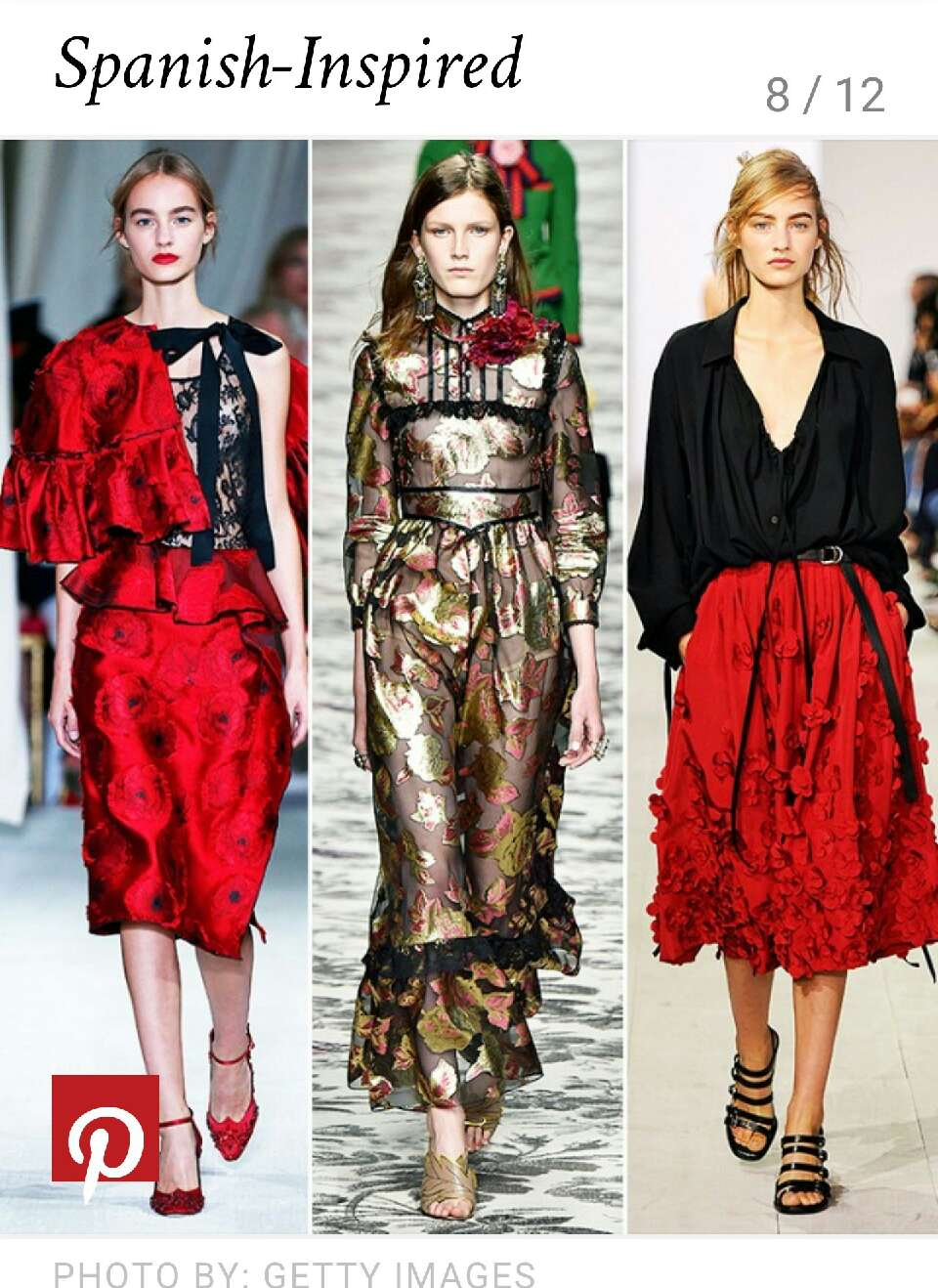 Channel your inner Matador with spring's red hot ruffles, brocade textures & 3D floral detailing
