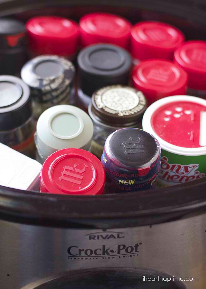 Place all your spices in a crockpot to keep them all together