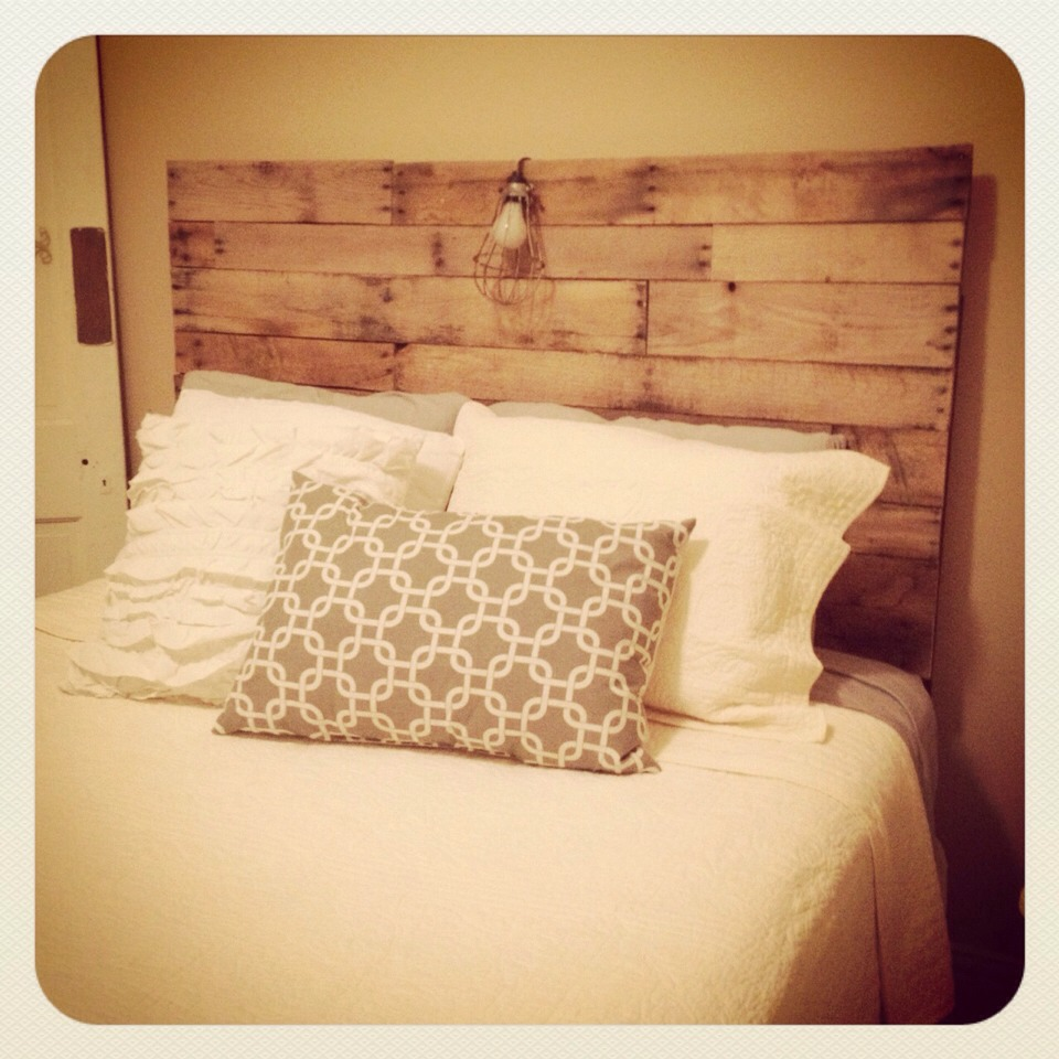 Have an old bed that just needs a headboard? Great for a guest room! My husband and I made an entire pallet bed and installed lights underneath! So cute and took only about 12 hours staining included :)