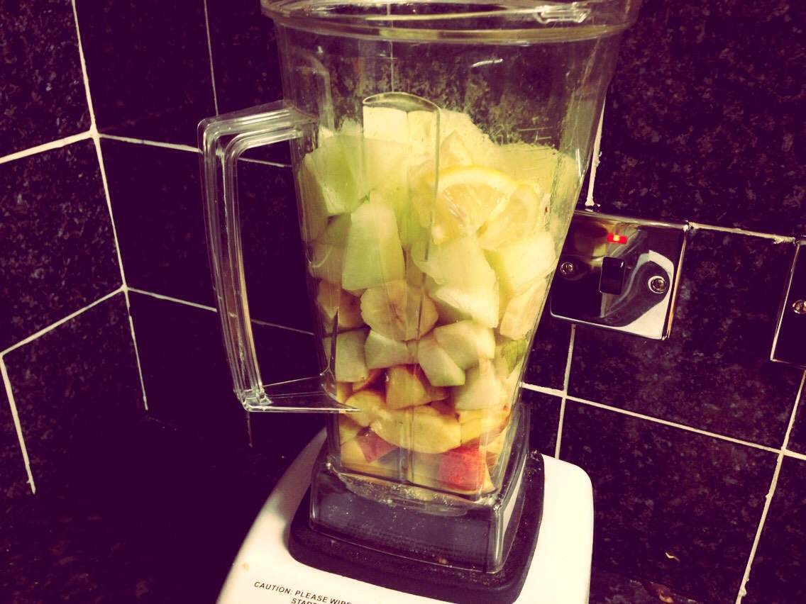 If your blender is small or even bigger you need to give a gentle whiz of the blender to brake down the fruits