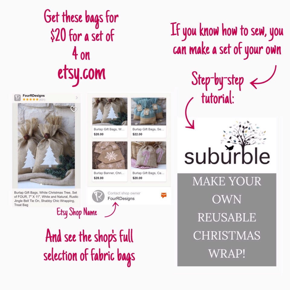 If you know how to sew, you can make a set of your own following this tutorial HERE | http://www.suburble.com/2014/12/make-reusable-christmas-wrap.html
