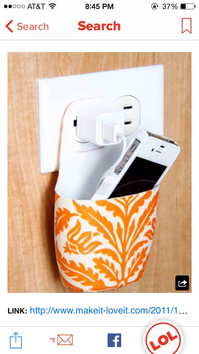 Simply use an old sunscreen bottle that has been covered in fabric to make a DIY phone charger holder. Just cut the bottle to your liking (it can be for any phone not just an iPhone) and use any cute fabric to spice it up a bit!