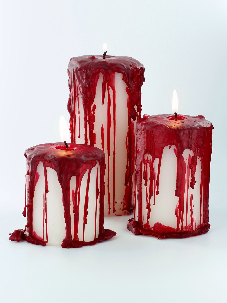 get a white candle and a red candle the. light the red candle and pour the wax all over the White candle and there a bloody candle