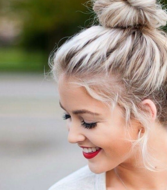 the super-famous messy bun I'm sure you know how to do this, but gather your hair at the top and twist than wrap around. done. *drops mic*