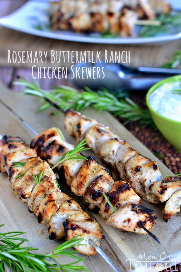 Follow this recipe for rosemary buttermilk ranch chicken skewers!