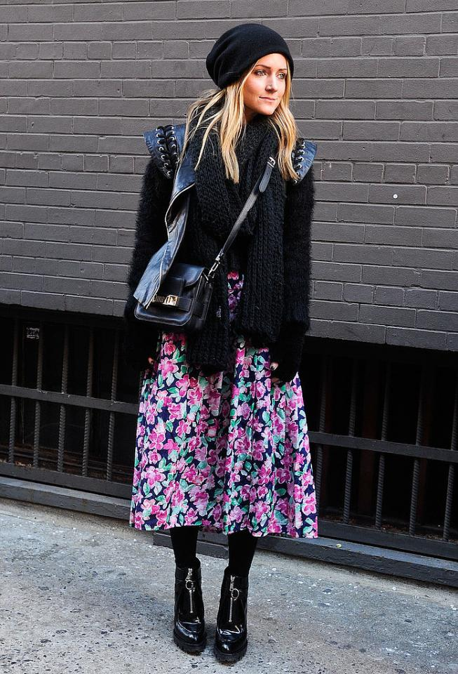 Style a Feminine Full Skirt For Winter  Ground a feminine full skirt with the right layers to take it right into Winter.