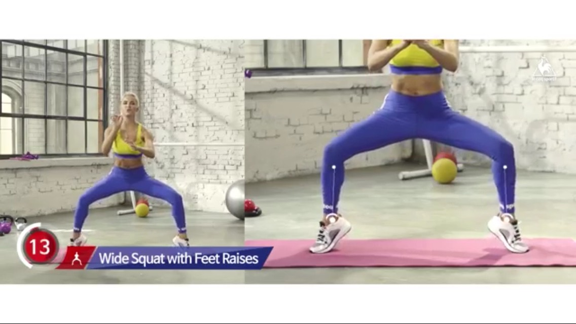 Sqaut up and down with your feet 30 sec spread more your legs too