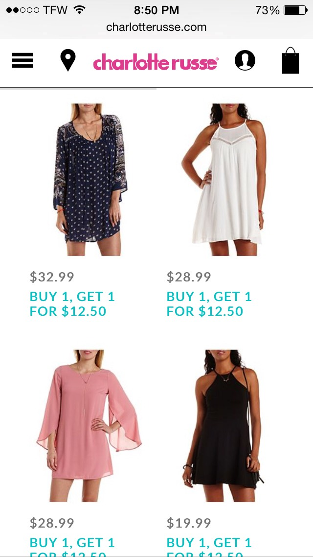 Charlotterusse.com has amazing styles and their shoes are to die for!! They always have great sales going on!