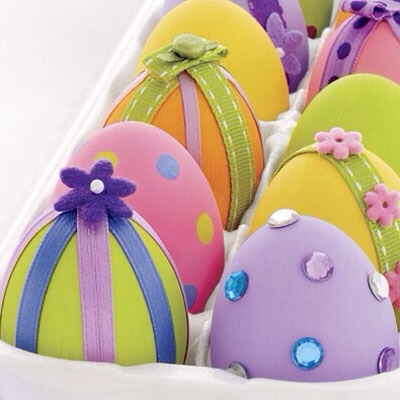 Decorate your household eggs. X Look fab.  Just use ribbons. Gens. And food colour ing.