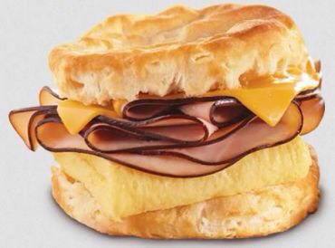 Breakfast Idea #4 This one has a few extra calories but they are totally worth it for a yummy start to the day. 1 biscuit with 1 whole egg or egg white cooked how ever suits you with 1 slice of cheddar cheese ( or any of your choice) 1 slice of ham (or any deli meat)