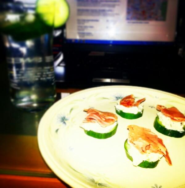 cucumber,  pesto light cheese spred and wafer thin ham light snack :)♡