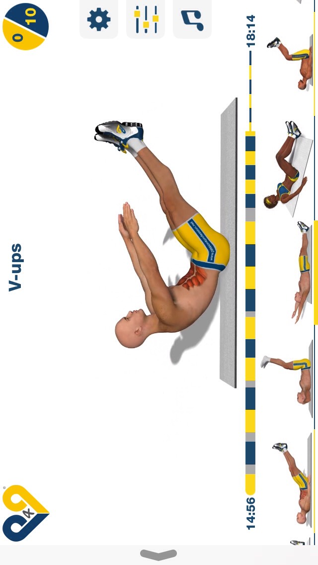 v-ups, sit ups combined with leg lifts; 10 reps.