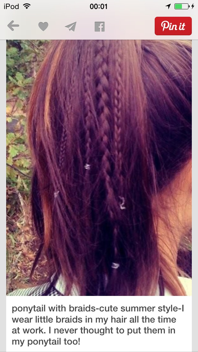 This hairstyle is really easy. It's a simple ponytail. But to make it cute and fancy, braids are added. 😊 You can do different sizes of braids to make in interesting. 😜