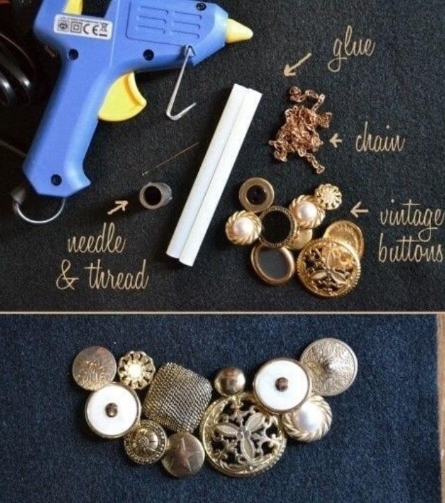 1. Vintage button necklace