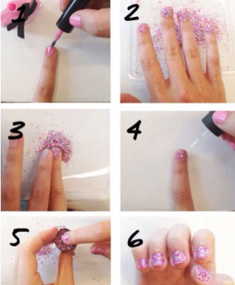 Add some pizzaz to your nails and did them in glitter!