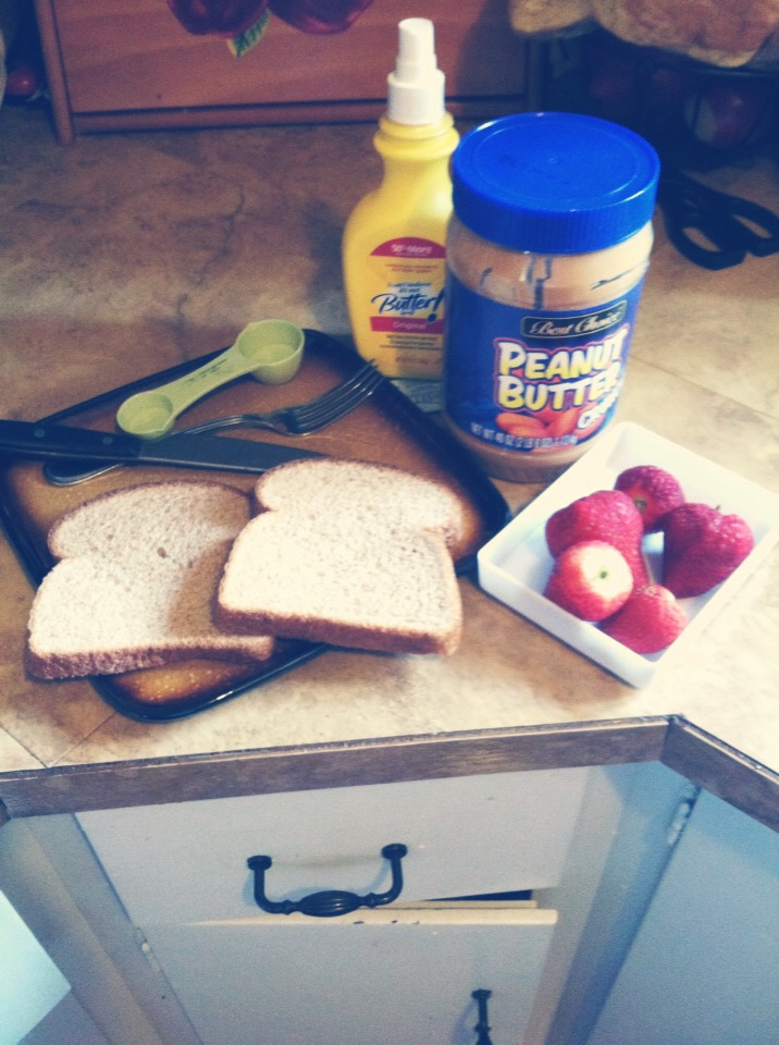 2 slices bread, 150 grams strawberries (about 4 or 5), one serving peanut butter(2 tbs, any kind you like. I like natural chunky),butter and sweetener to taste