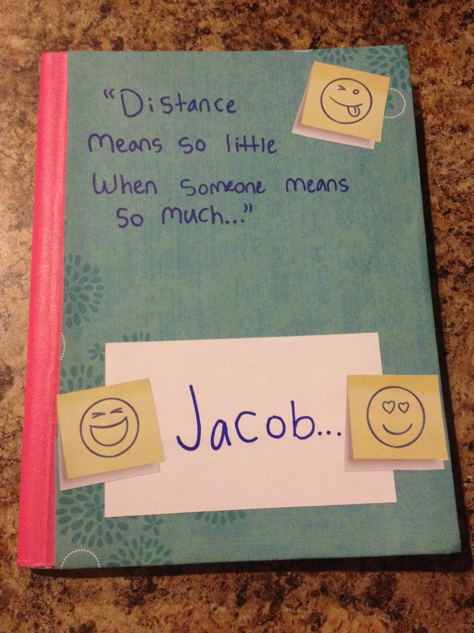 Make a cute little journal for your lover. He doesn't have to be far away; as long as you want to make it, make it!