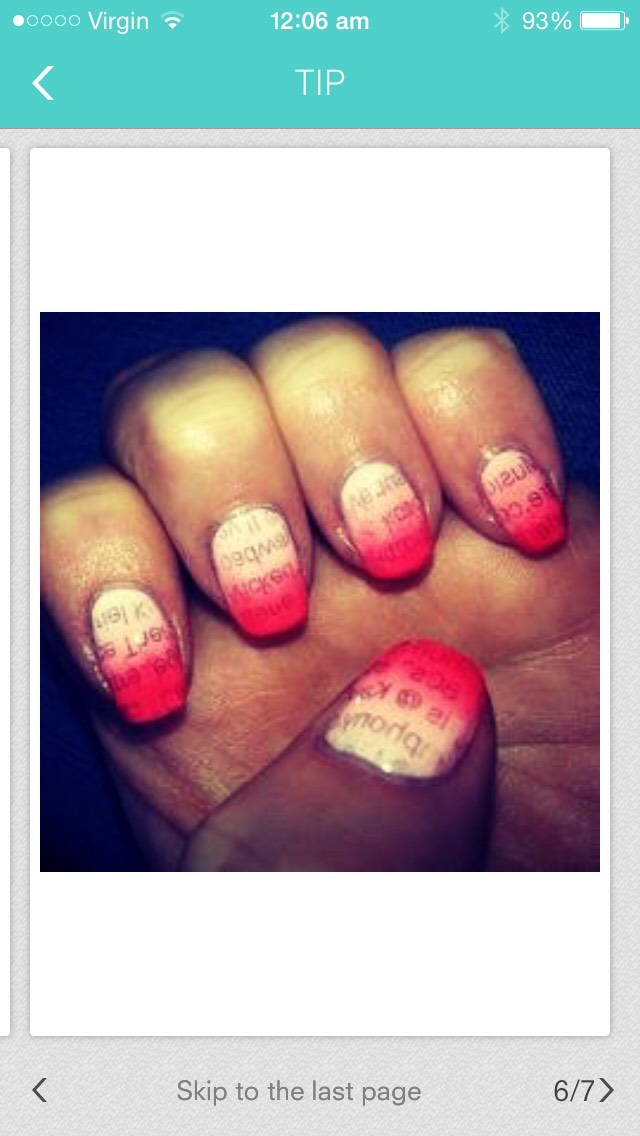This ones really simple; all you have to do is apply a base coat(in this image white) then wait 2 min and press&hold down a news paper page for 30 secs, then wait for 2 mins then apply darker coat on top of the nail(pink)