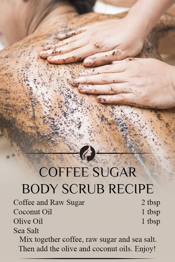 Coffee Body Scrub Who doesn't love coffee? Very few people come to my mind. But coffee is goodnot only for your morning pick-me-up. This Coffee DIY body scrub exfoliates the skin, and the coffee grains help reduce the appearance of cellulite by plumping up your skin. If you look at the ingredients in more expensive cellulite creams, you will notice that caffeine is one of the key ingredients. However, this is a much cheaper way to get rid of both dead skin cells and cellulite all in one.