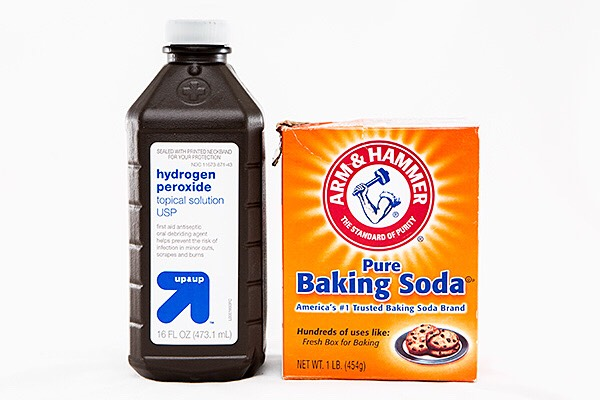 Use baking soda and hydrogen peroxide to clean gross cookie sheets. Cover the sheet stains in baking soda, then peroxide, then sprinkle the baking soda on again, and leave this mixture on for a while (the longer the cleaner)!
