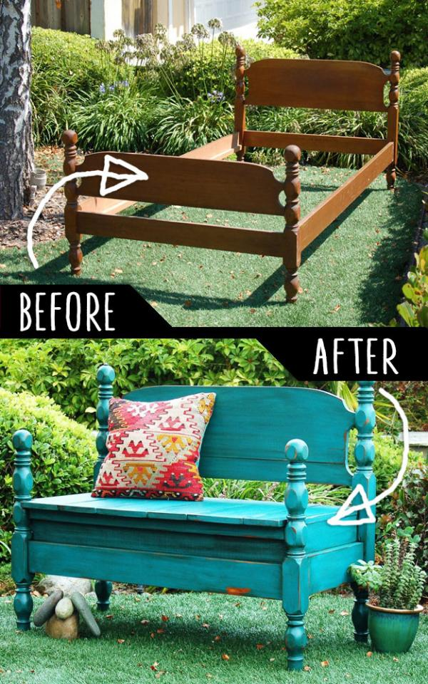 Bed Turned Into Bench  http://www.jillsabode.com/blog/2012/8/29/bed-turned-into-bench.html