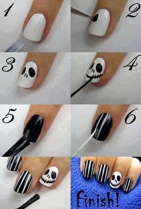 nightmare before christmas diy nail art tutorial - Nightmare Before Christmas Nail Art