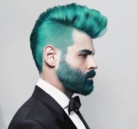 Dramatic turquoise is a bold color. Why not dye your beard the same color?