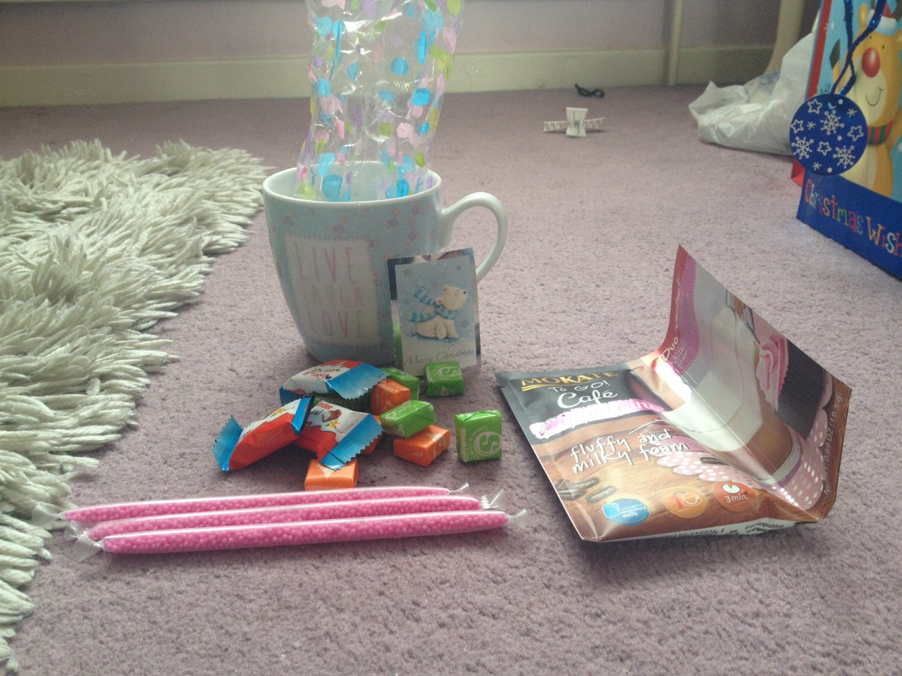 Add a cellophane bag and add a sachet  of hot drink or a milk flavoured straw. Don't forget them yummy sweets