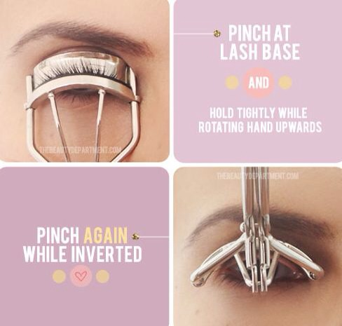 Get the most out of your lash curler by pinching at the very base of  your lashes, and then lifting the curler up into an inverted position. This creates double the curl and lasts much longer!