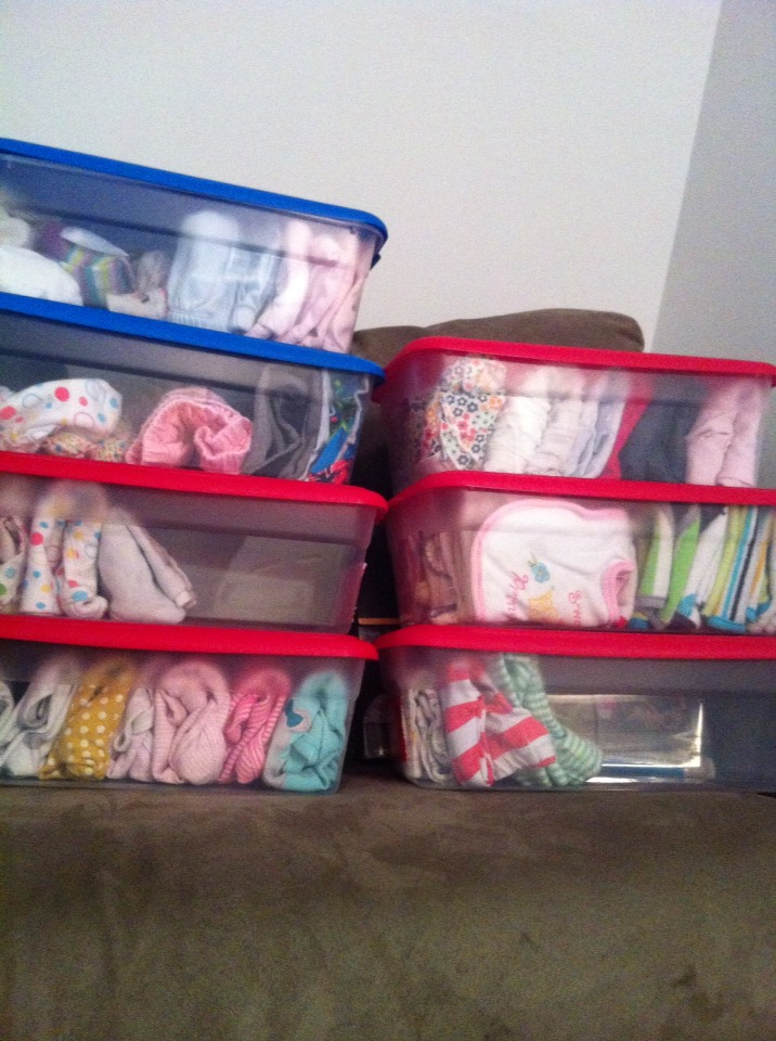 All u gotta do is make every bin a type of clothing, I did onsies, pants, shirts/over shirts , bibs/wash clothes, dresses, diaper covers/tights/socks, and then skirts/hats/bows