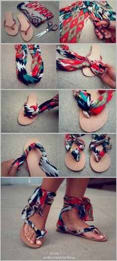 Make colorful sandals with leftover fabric