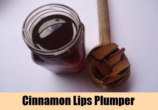 Recipe One: Cinnamon helps improve circulation and plumps your lips. Mix some cinnamon and Vaseline together and apply the mixture to your lips until the desired fullness is achieved