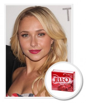 Use Jello as a lipstain. Directions:  Pour the powder mix into a bowl and moisten a Q-Tip with water. Then, being very careful not to use your fingers since the red stains stay put, dip the Q-Tip into the powder and apply it directly to your lips.