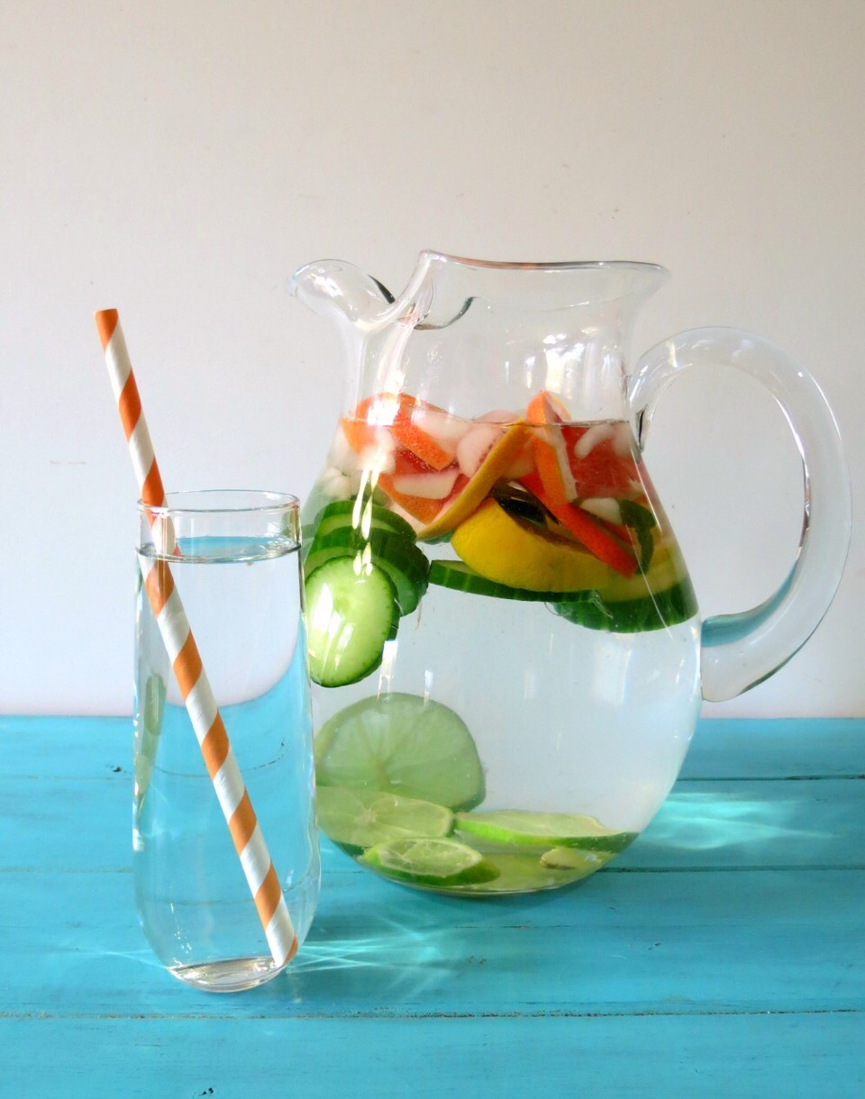 2. Citrus Cucumber Detox Water  Your body will love this tasty citrus, cucumber, ginger, and mint spa water — it may help with bloating, detoxifying the kidneys, and promoting clear skin. Recipe: http://www.peanutbutterandpeppers.com/2014/01/02/detox-water/