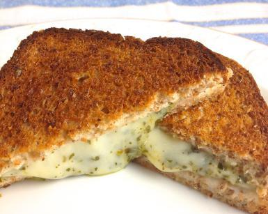 Baked Grilled Cheese Pesto Sandwiches     ---> Prep Time: 5 minutes Cook Time: 8 minutes Total Time: 13 minutes Yield: Serves 4