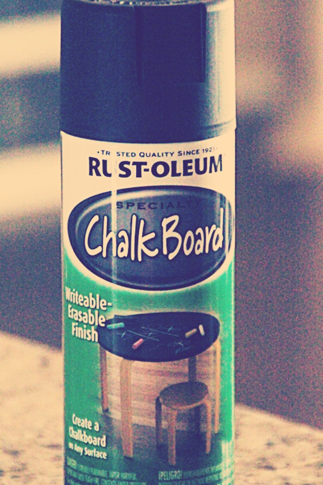 You will need to buy chalkboard paint I prefere the spray on. ( you can find chalkboard paint at most craft and hobby stores ) . Next lay the glass piece down on some old newspaper and apply 2 coats of the chalk board paint.