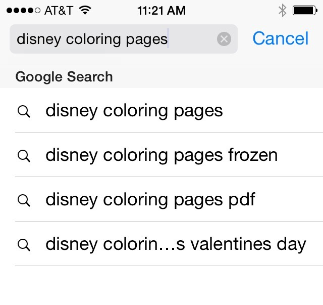 First Google search: Disney coloring pages