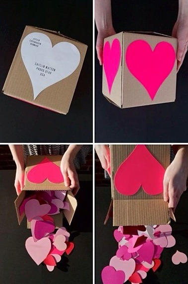 "Cut up hearts and write what you love about that person aka like a ""heart attack"" you can get creative how you decorate the box and stuff😊❤️"
