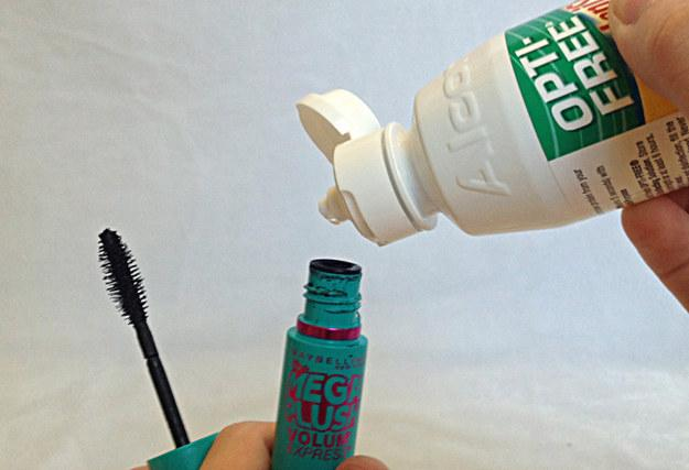 20. If you want to make your flaky, clumpy mascara last longer, mix a little contact solution in.