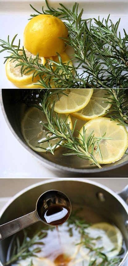 All you have to do is simmer some water, vanilla, lemon and rosemary on the stove! Simple!